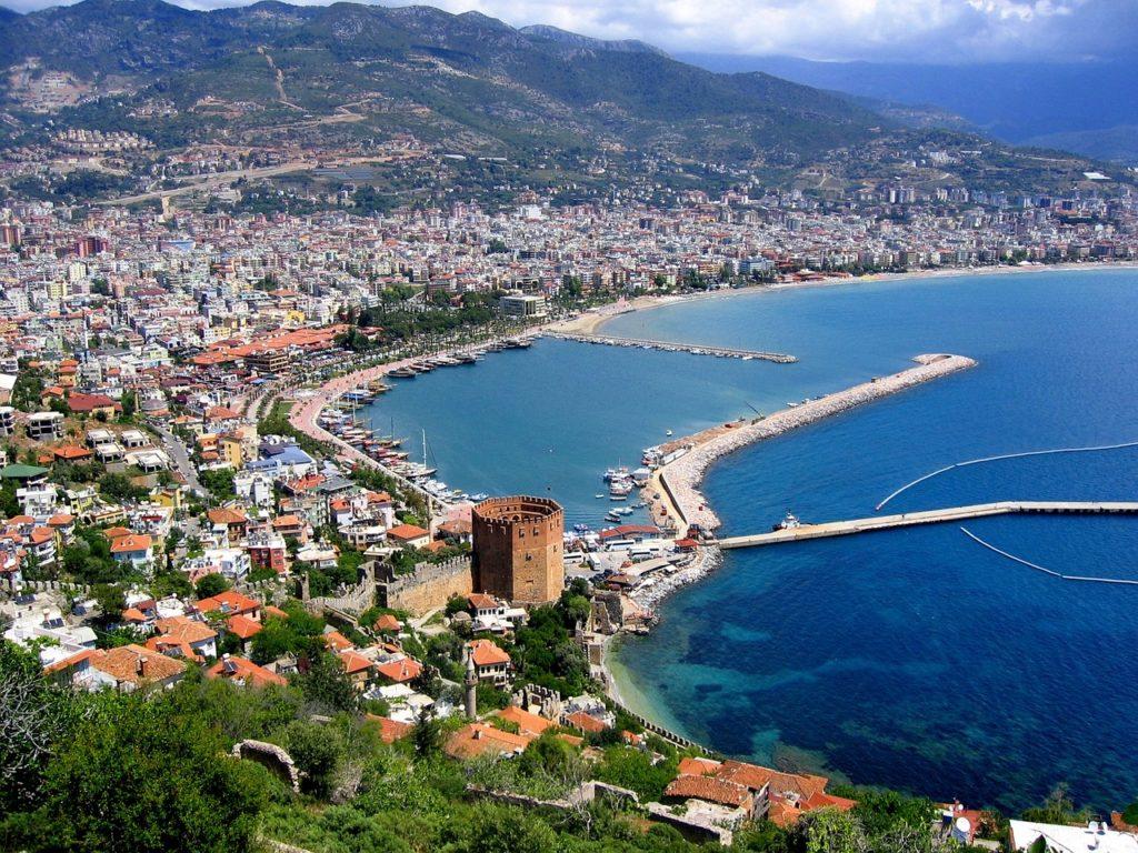 Alanya v Turecko - pohľad na pláže